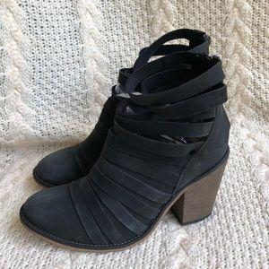 Free People Hybrid Sliced Leather Booties Boots